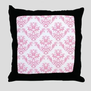 Pink Damask Pattern Throw Pillow