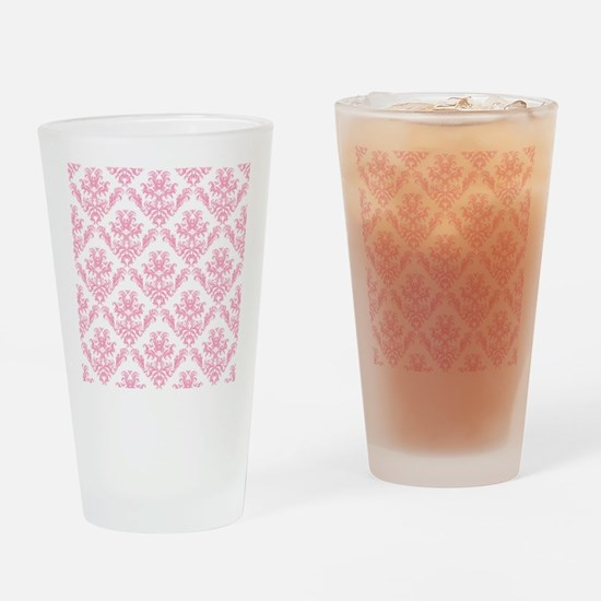 Pink Damask Pattern Drinking Glass
