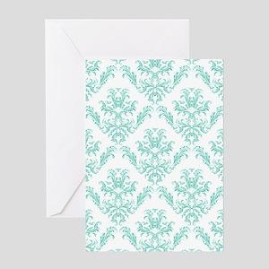 Damask Pattern Teal Greeting Cards