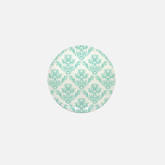Damask Pattern Teal Mini Button