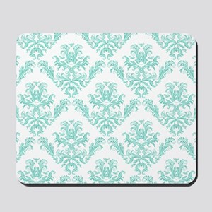 Damask Pattern Teal Mousepad