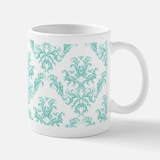 Damask Pattern Teal Mugs