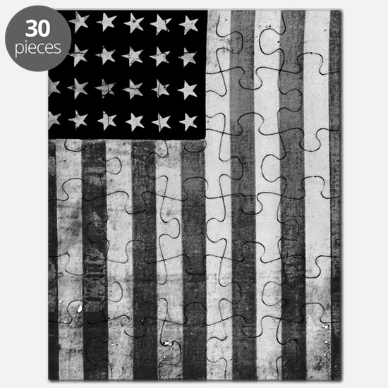 American Vintage Flag Black and White Puzzle