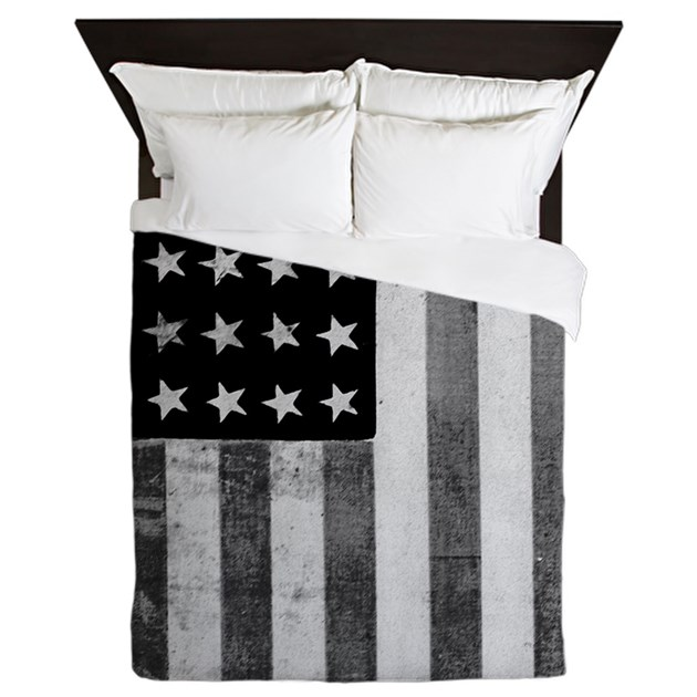 American Vintage Flag Black and White Queen Duvet by Admin ...