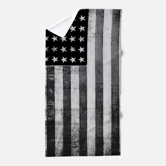 American Vintage Flag Black and White Beach Towel