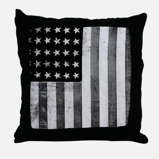 American Vintage Flag Black and White Throw Pillow