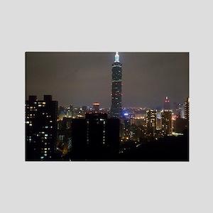 Taipei City Skyline Rectangle Magnet
