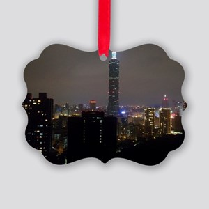 Taipei City Skyline Picture Ornament