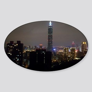 Taipei City Skyline Sticker (Oval)