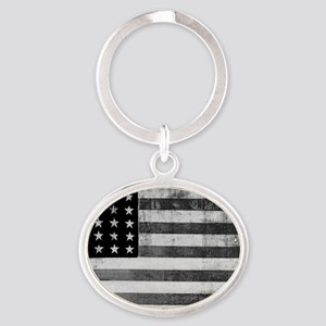 American Vintage Flag Black and Whit Oval Keychain