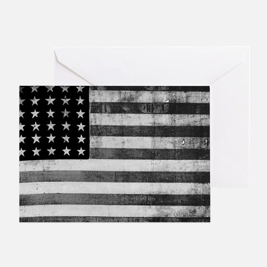 American Vintage Flag Black and Whit Greeting Card