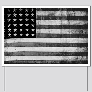 American Vintage Flag Black and White ho Yard Sign