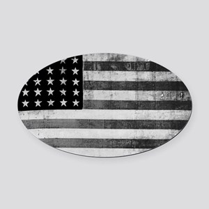 American Vintage Flag Black and Wh Oval Car Magnet