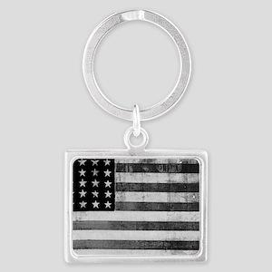 American Vintage Flag Black and Landscape Keychain