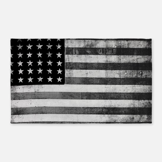 American Vintage Flag Black and White hor Area Rug