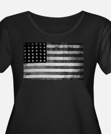 American Vintage Flag Black and Plus Size T-Shirt