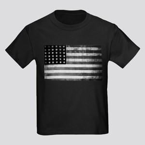 American Vintage Flag Black and White hori T-Shirt