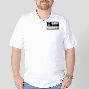 American Vintage Flag Black and White h Golf Shirt