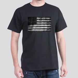 American Vintage Flag Black and White hori T-Shirt