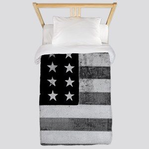 American Vintage Flag Black and White h Twin Duvet