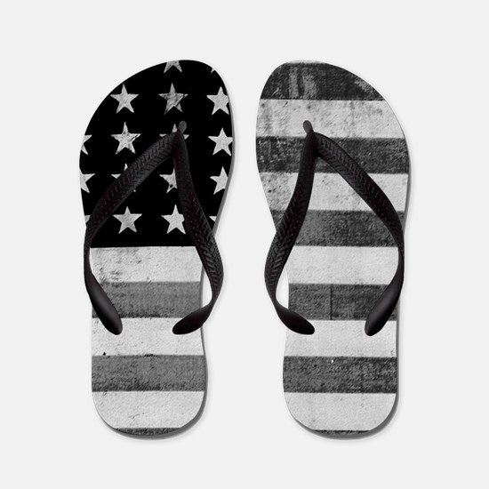 American Vintage Flag Black and White h Flip Flops