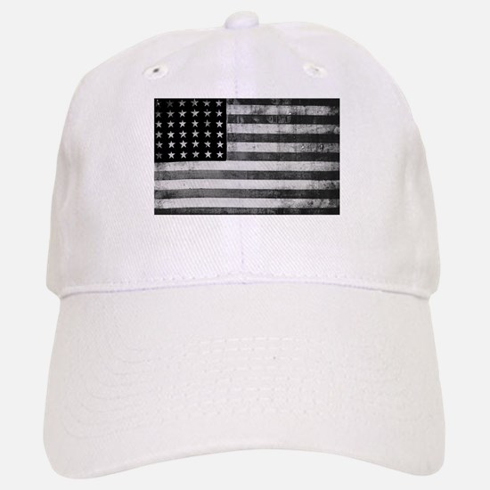 American Vintage Flag Black and White horizont Baseball Baseball Cap