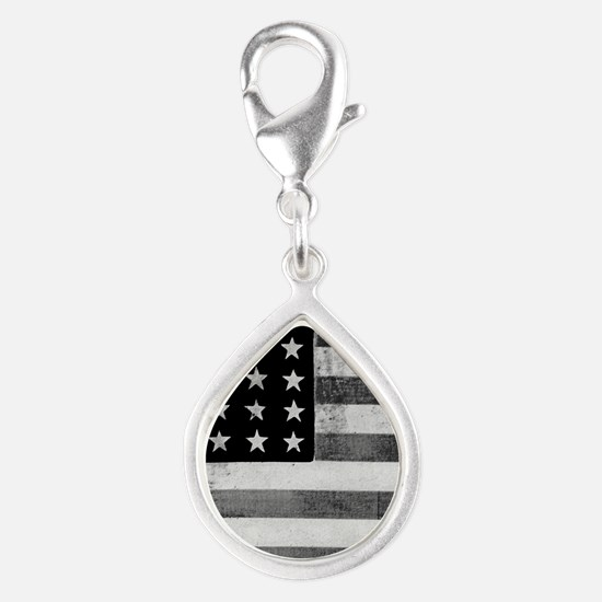 American Vintage Flag Black and White horiz Charms