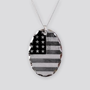 American Vintage Flag Black an Necklace Oval Charm