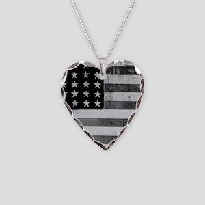 American Vintage Flag Black a Necklace Heart Charm