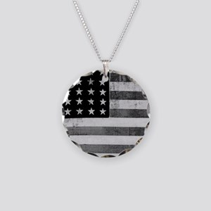 American Vintage Flag Black Necklace Circle Charm