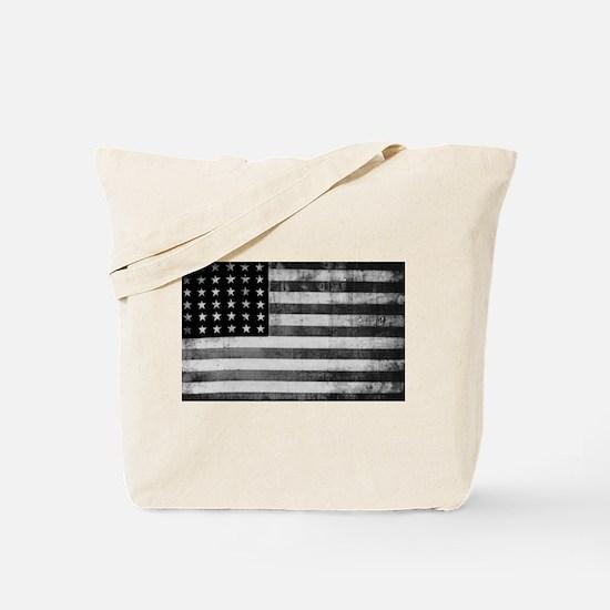 American Vintage Flag Black and White hor Tote Bag