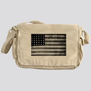 American Vintage Flag Black and Whit Messenger Bag