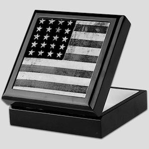 American Vintage Flag Black and White Keepsake Box