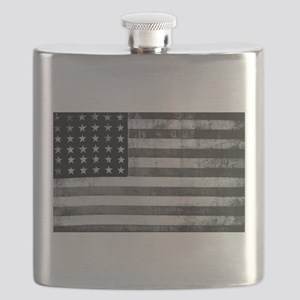 American Vintage Flag Black and White horizo Flask