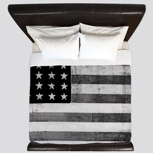 American Vintage Flag Black and White h King Duvet