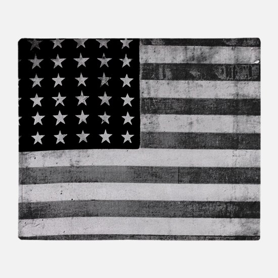 American Vintage Flag Black and Whit Throw Blanket