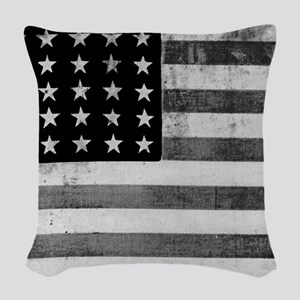 American Vintage Flag Black an Woven Throw Pillow