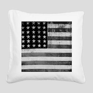 American Vintage Flag Black a Square Canvas Pillow