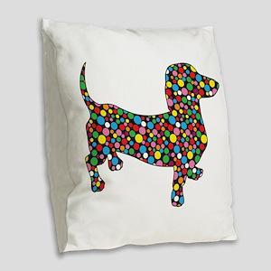 Polka Dot Dachshunds Burlap Throw Pillow