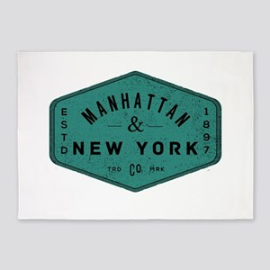 Manhattan New York City Vintage Log 5'x7'Area Rug