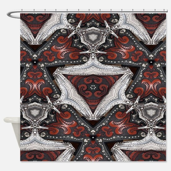 western leather rustic cowboy Shower Curtain