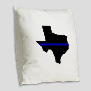Thin Blue Line (Texas) Burlap Throw Pillow