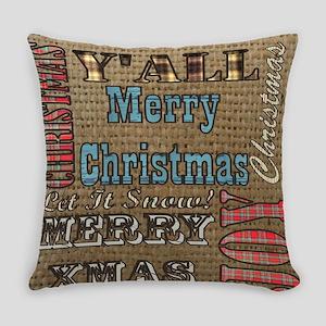 scripts burlap primitive christmas Everyday Pillow