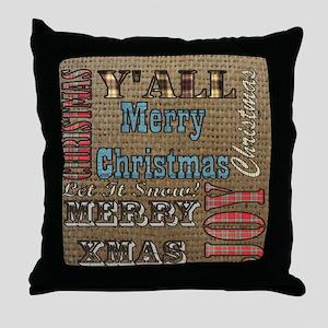 scripts burlap primitive christmas Throw Pillow