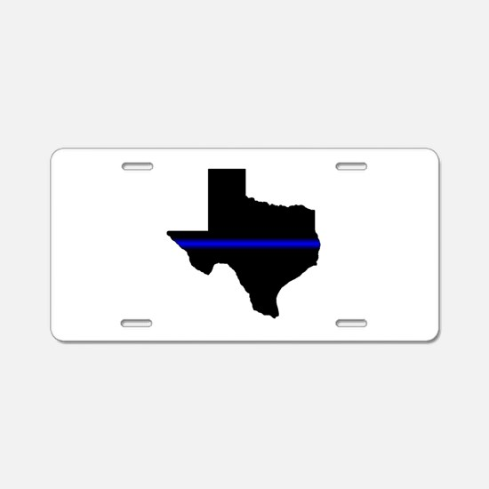 Thin Blue Line (Texas) Aluminum License Plate