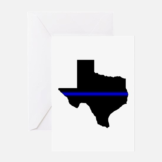 Thin Blue Line (Texas) Greeting Cards