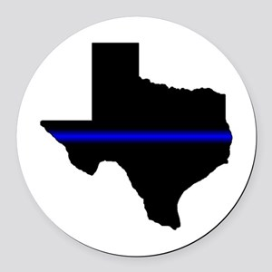 Thin Blue Line (Texas) Round Car Magnet