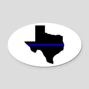 Thin Blue Line (Texas) Oval Car Magnet