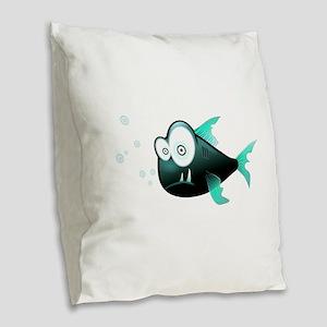 Piranha Fish Burlap Throw Pillow