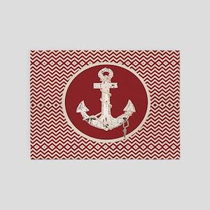 red chevron nautical anchor 5'x7'Area Rug